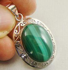 Semi-Precious GREEN MALACHITE Gemstone 925 Sterling Silver Pendant - C30