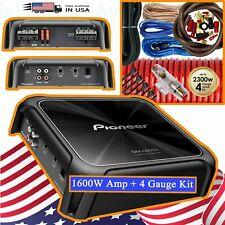 Pioneer GM-D8701 1600W Monoblock Subwoofer 1 Ohm Amplifier + 4 Gauge Amp Kit NEW