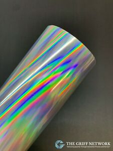 Glossy Rainbow Silver Holographic Adhesive Vinyl - Oil Slick - Great for Crafts