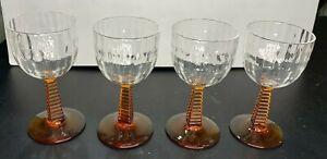 "Vintage Crystal And Amber Cordial Glasses Elegant Design 5"" Tall 2 1/2"" Diameter"