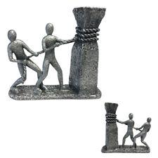 Gilde 37175 Sculpture An einem Strang ziehen Skulptur Figur Statue antiksilber C