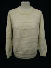 Aran Cable Knit Sweater, Chunky Knit Jumper, Medium, Wool Blend, 53cm Wide