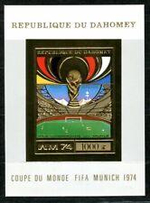 Benin Dahomey 1974 Munich Football Gold Foil Or Michel Bloc 54 imperf 40 euros