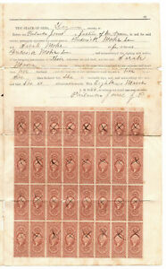 Block of 32, and block of 8 R44c Certificate Revenue Stamps - on 1866 Ohio Deed