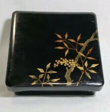 Vintage 1940's Japanese Black Lacquer ware Bento Box Makie gold berries