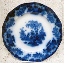 """EARLY FLOW BLUE JOHN AND GEORGE ALCOCK SCINDE 9 1/2"""" PLATE"""