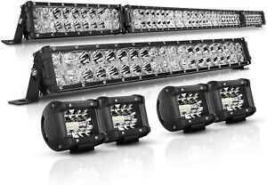 """52inch+20"""" LED Light Bar Spot Flood Combo + 4x 4"""" Pods For Jeep Ford SUV 4WD UTE"""