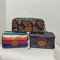 Fossil Cosmetic Case Keyper Stripes Multi Color Zipper makeup bag pouch NWT