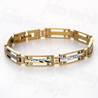 Mens Gold Silver Tone Stainless Steel Bracelet Cuff Bangle Wristband Chain Punk