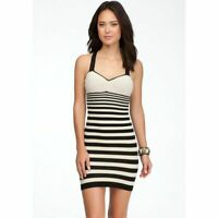 New Bebe Womens Stretchy Padded Stripe Bodycon Mini Dress Beige/Black Xs-M $69