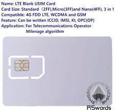 SIM USIM Card 4G LTE WCDMA GSM Blank Mini Nano micro writable programable.