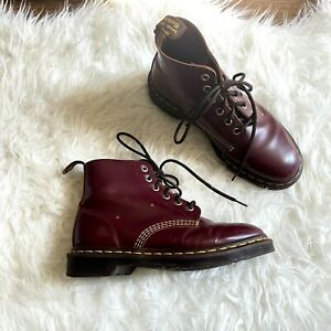 Doc Dr Martens US 7 1460 Smooth Leather Lace Up Combat Boots Cherry Red