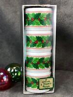 Vintage Hallmark Cards Plastic Napkin Rings ~ Christmas Holly Holiday Theme NIB