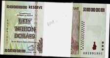 Zimbabwe 50 Trillion Dollars Series x 100 PCS AA / 2008 UNC Bundle Pack Lot Note