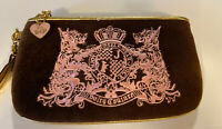 juicy couture purse Quilted Wristlet Brown Pink Gold Trim Velour