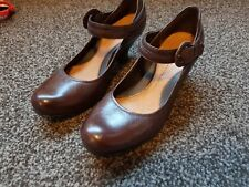 CLARKS BLOCK HEEL   BROWN LEATHER SHOES MARY JANES