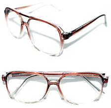 True Vintage Men's Women's Aviator clear lens Eye Glasses Brown Clear Frame 289