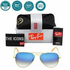 New Authentic Ray Ban Aviator RB3025 Gold 001/3F Light Blue Gradient 58mm Lens