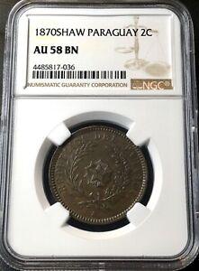 💥AU58💥COPPER COIN 2 CENTESIMOS 1870 SHAW PARAGUAY. NGC AU58 BN