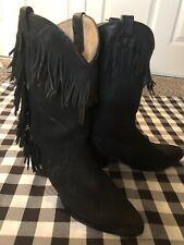 Womens Western Acme Fringe Boots Black