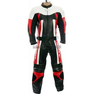 RTX TITAN Red & Black Motorcycle Leather Two Piece Biker Jacket & Trouser Suit