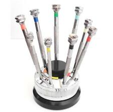 9 tournevis horloger sur socle tournant - 9 screwdrivers on a rotating stand-