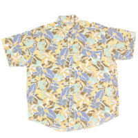 L.L. BEAN Floral Tropical Hawaiian Palm Short Sleeve Cotton Mens Shirt sz XL