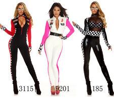 Sexy Women Racing Halloween Costume White Driver Nascar Race Queens Fancy Dress