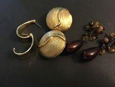 vintage estate lot of three pair pierced earrings