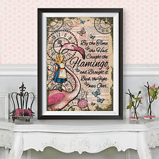 Reproduction art print dictionary background alice in wonderland pink flamingo