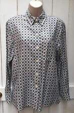 Betty Barclay Pale Blue Grey Heraldic Scarf Print Cotton Mix Shirt 14 Blogger