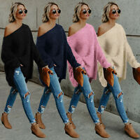 Womens Fluffy Off Shoulder Sweater Long Sleeve Casual Pullover Jumper Tops UK