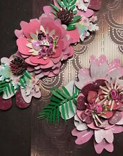 2 piece Multicolored Pink Flowers Layouts Handmade Unique decor