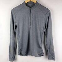 Adidas Climalite Respone 1/2 Zip Long Sleeve Tee Top Shirt Gray Womens Size Smal