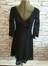 KAREN MILLEN Black Dress Crochet mohair Wool Bow V Neck Wrap 8 uk