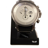 Vestal Adult Men's Plexi Leather Analog Display Watch Black Silver