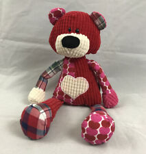 Ganz Quiltees Bear Red Pink White Patchwork Plush Hearts