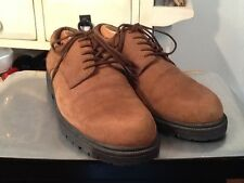 Bugle Boy Oxfords Brown Nuback Suede Leather Waffle Soles Mens Sz 12D