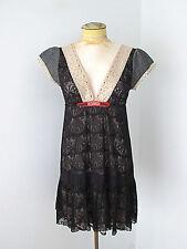 Free People black lace tweed hippie tunic top mini dress deep V Sz 6
