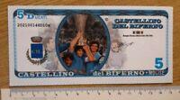 Maradona banconota da 5 ducati emessa dal Comune di Castellino del Biferno (CB)