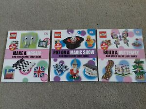 3 x LEGO BOOK OF IDEAS TO BUILD BUTTERFLY HOUSE MOSAIC GAMES STORAGE MAGIC SHOW