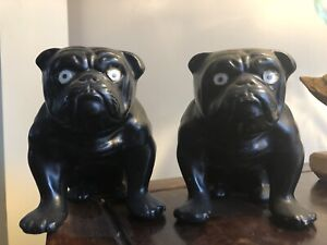 Pair Of Vintage Black Bulldog Ornaments Figurines Goggles Eyes