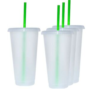 Reusable 24oz Plastic Translucent craft Cup with Green Straw and Lid (4 Pack)