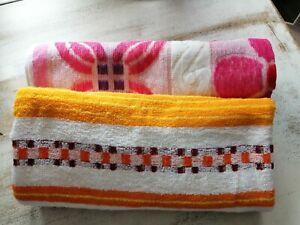 Vintage retro 1970s Bath Towels Orange Pink purple Yellow leeona cotton