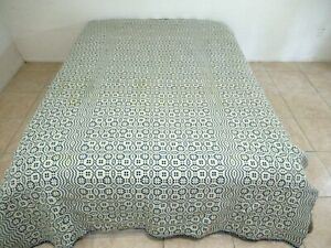 """ONE SIDE DISCOLORED Vintage Jacquard Wool Coverlet Reversible; 96"""" x 70"""""""