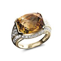 22K Yellow Gold Natural Citrine Gem Stone & Certified Diamond Men's Ring Jewelry