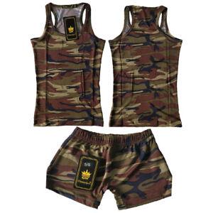 Girls kids T-Shirts & Shorts Set Army Camouflage vest tops hot pants Racer Back