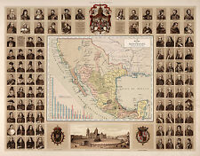1885 Map New Spain Surrounding Mexico Wall Poster Print Decor Vintage History