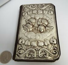 BEAUTIFUL ENGLISH ANTIQUE ART NOUVEAU 1904 STERLING SILVER MOUNTED PRAYER BOOK