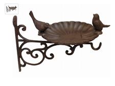 Porte plante mural, mangeoire, abreuvoir, bain en fonte motif oiseau